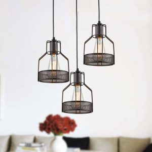 Oil Rubbed Bronze Industrial Kitchen Pendant Lighting Cage Pendant Lights