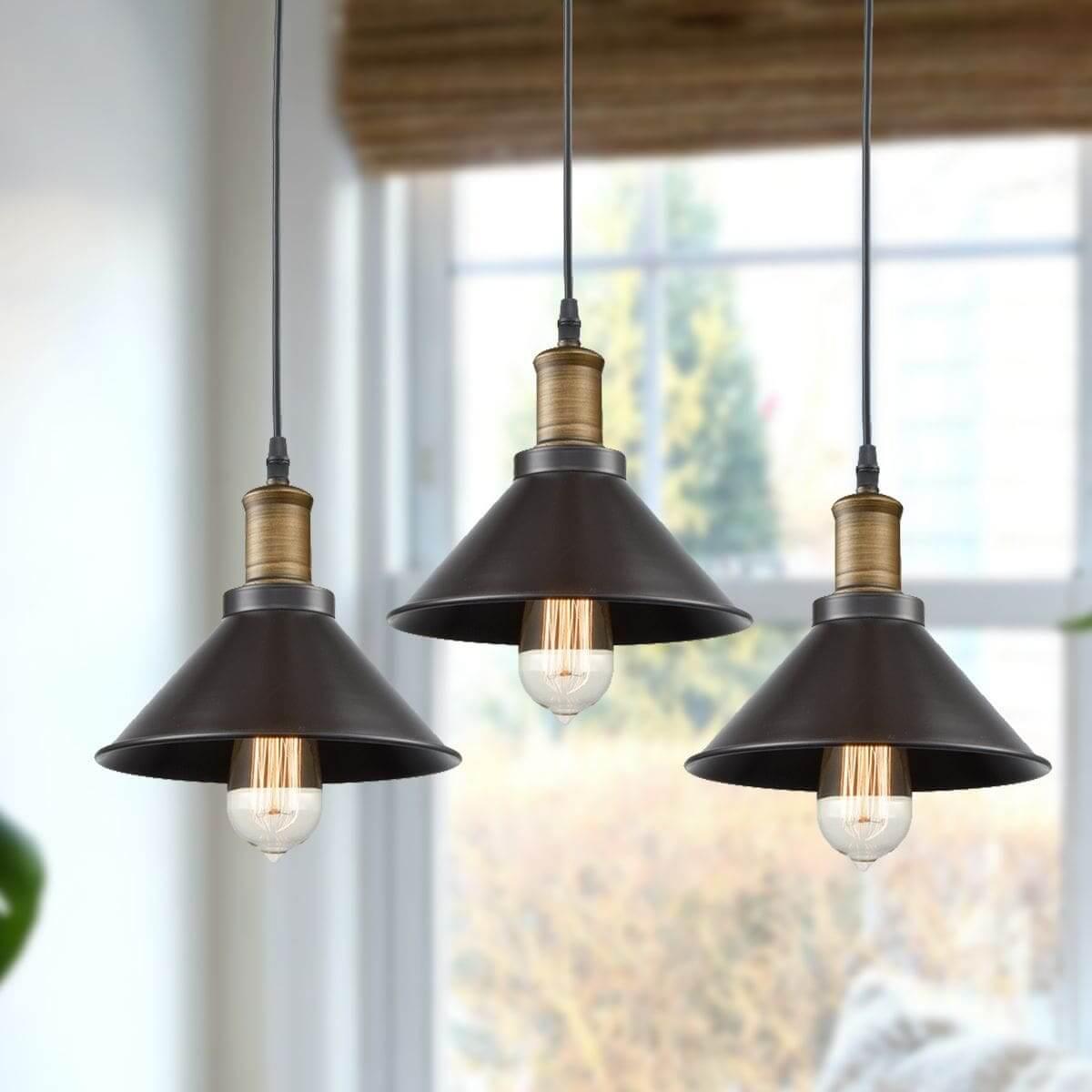 Oil Rubbed Bronze Industrial Pendant Lighting 3 Pack Mini Pendant Lights