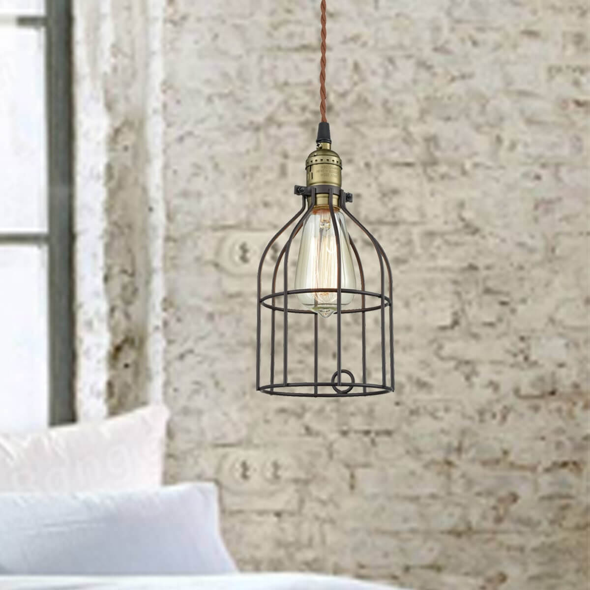 Oil Rubbed Bronze Industrial Plug In Pendant Light Bird Cage Shade