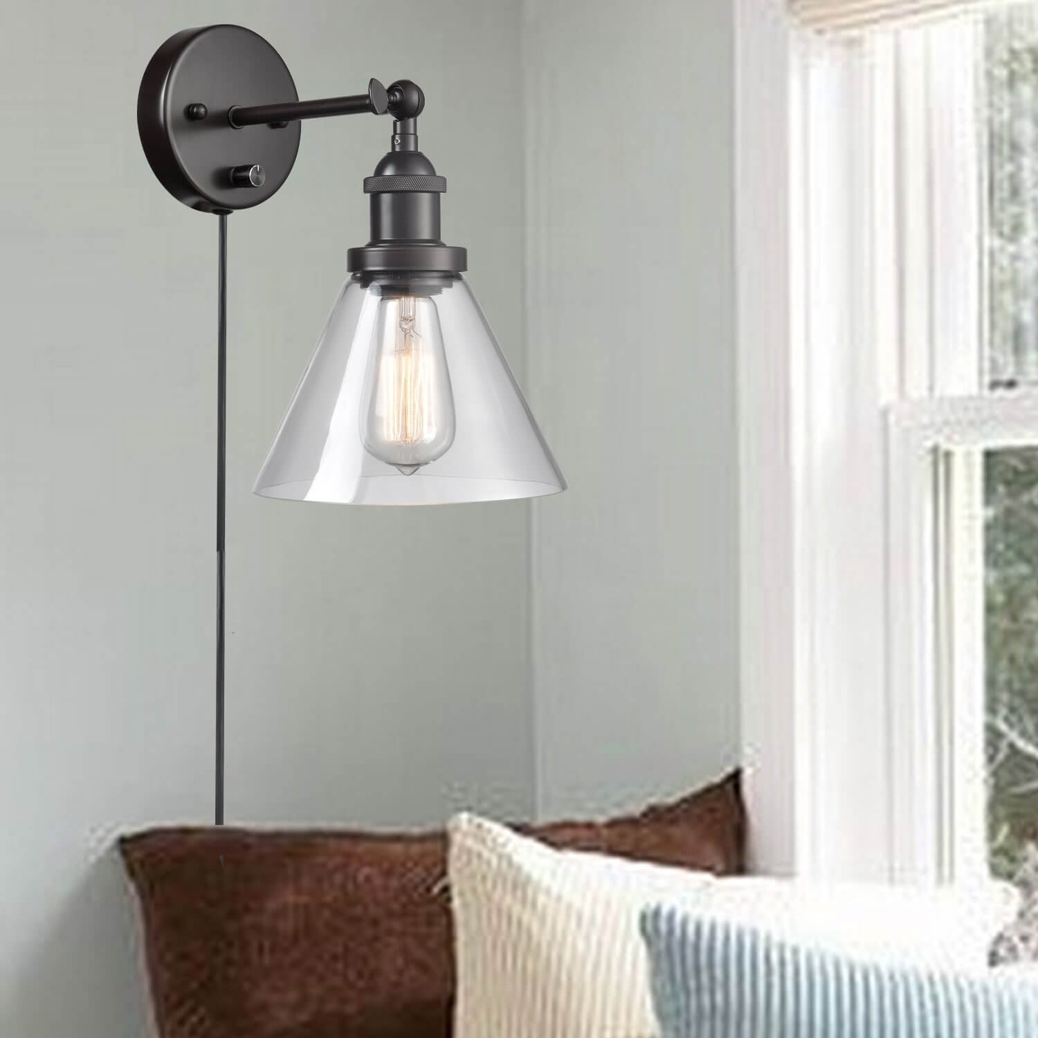 Industrial Bronze Plug-In Wall Lights Set of 2 with Clear Glass Shade