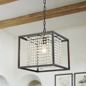 Oil Rubbed Bronze Square Modern Chandeliers Crystals for Living Room