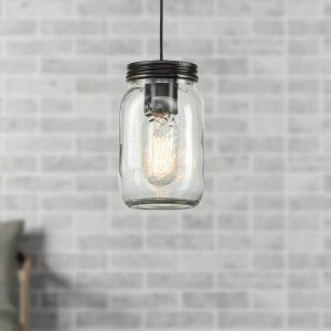 Plug-in Jar Glass Industrial Pendant Lighting