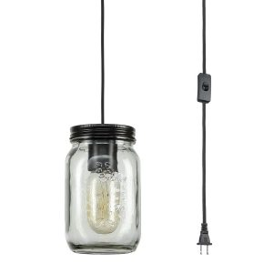 Plug-in Clear Glass Mason Jar Industrial Pendant Lighting