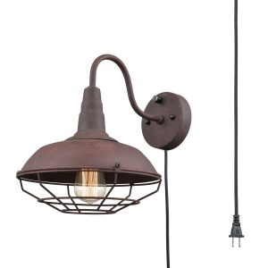 Plug in Industrial Rust Gooseneck Wall Sconce with Cage