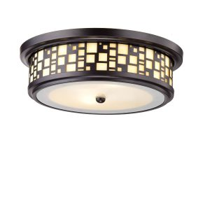 Resin Drum Flush-Mount Ceiling Light with Frosted Glass