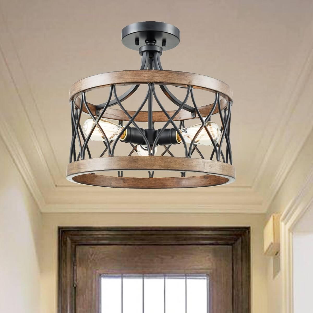 Retro Drum Wood Metal Cage Semi Flush Mount Ceiling Light 3 Lights