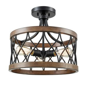Retro Drum Wood Metal Cage Semi Flush Mount Ceiling Light 3 Lights