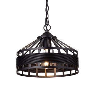 Rustic Black Drum Pendant Light Hanging Chandelier