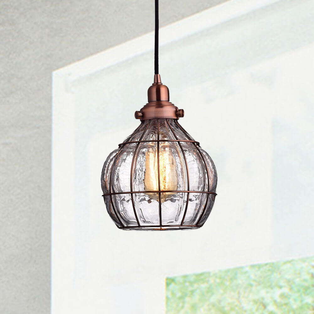 Rustic Cracked Glass Pendant Lights, Red Copper Finish