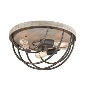Rustic Flush Mount Ceiling Lights Distressed Wooden Light