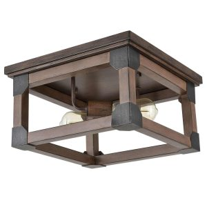Rustic Flush Mount Ceiling Lights with Wood-Look Finish
