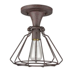 Rustic Iron Art Dco Industrial Cage Flush Mount Ceiling Light