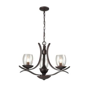 Rustic Iron Chandeliers Seeded Glass Chandelier 3 Lights Rust Bronze Finish