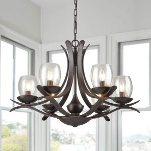 Rustic Iron Chandeliers Seeded Glass Chandelier 6 Lights Rust Bronze Finish