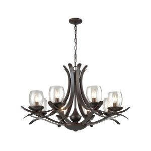 Rustic Iron Chandeliers Seeded Glass Chandelier 8 Lights Rust Bronze Finish