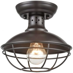 Rustic Mini Cage Semi Flush Ceiling Lights