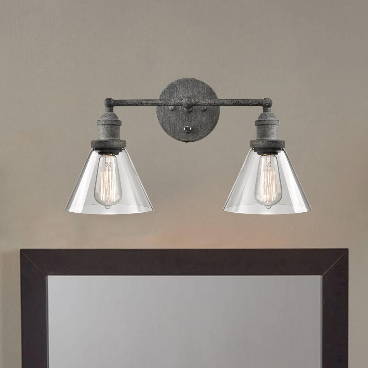 Rustic Mycete Glass 2 Light Hardwired & Plug in Bath Wall Sconce