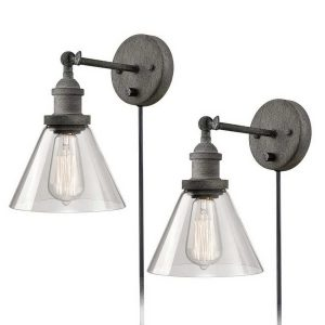 Rustic Mycete Hardwired & Plug in Swing Arm Wall Sconces 2 Pack