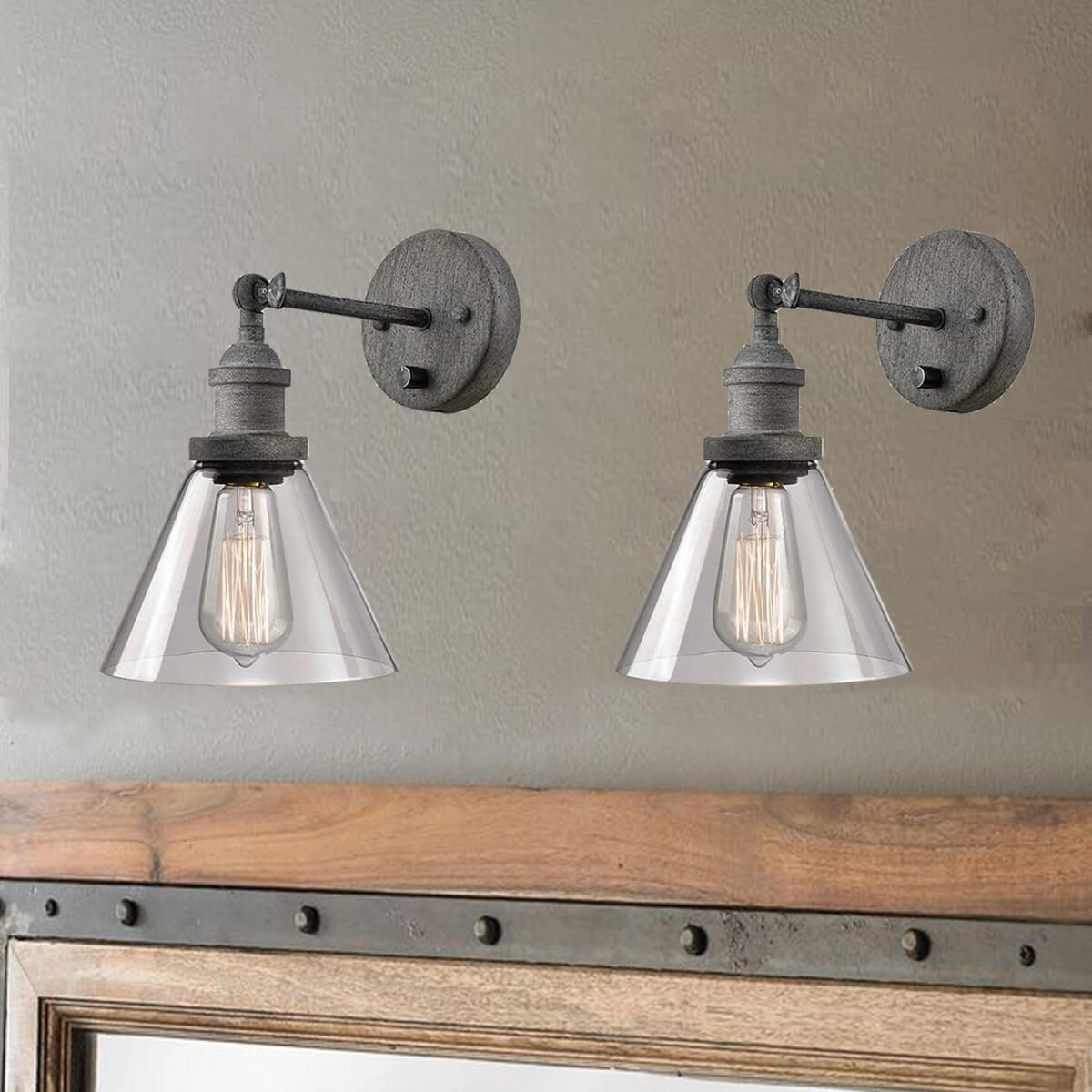 Rustic Mycete Hardwired And Plug In Swing Arm Wall Sconces 2 Pack