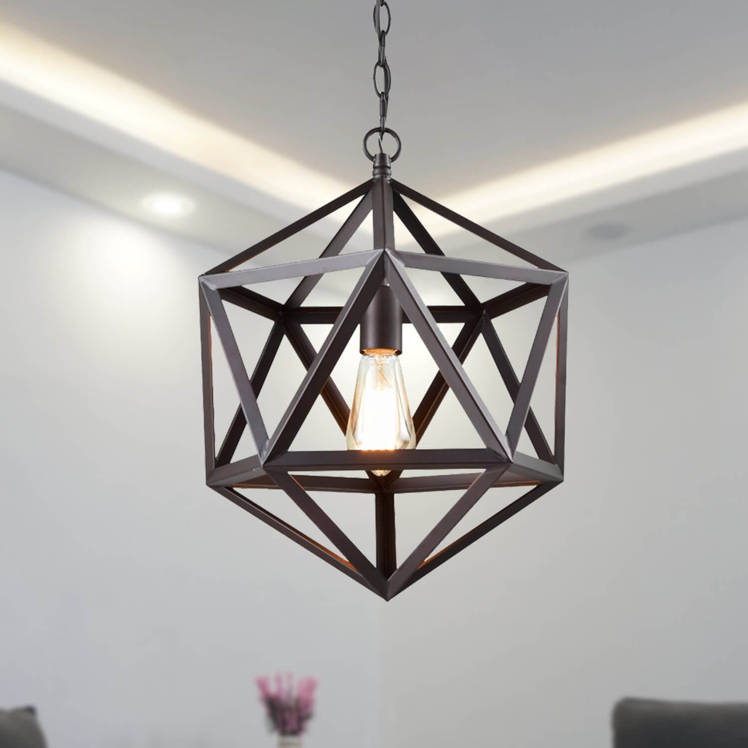 Bronze Geometric Pendant 1 Light Loft