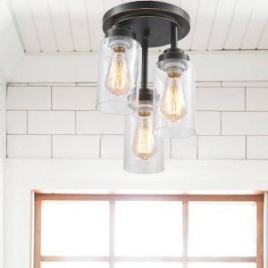 Seeded Glass Cylinder Flush Mount Ceiling Lights