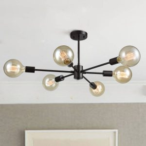 Semi-Flush Sputnik 6-Light Ceiling Lights, Oil Rubbed Bronze