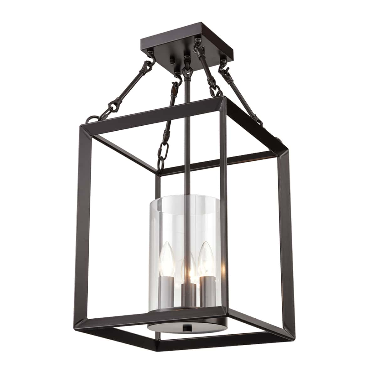 Square Cage Semi Flush Ceiling Lights Chandeliers
