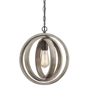Staircase Globe Metal Rustic Wood chandeliers with 1 Light