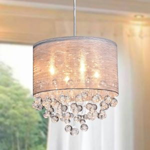 Stem Adjustable Crystal Drum Chrome Modern Chandeliers