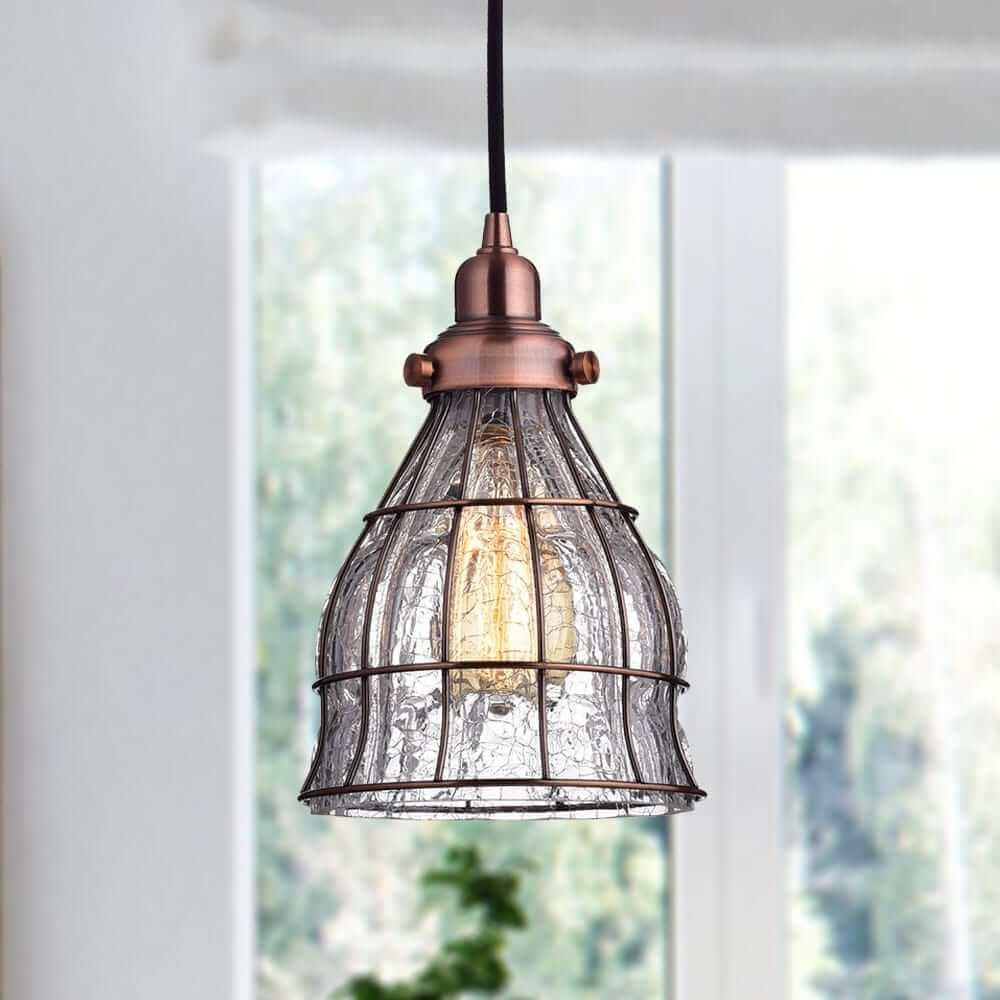 Vintage Cracked Glass Pendant Lights, Red Antique Copper