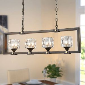 Vintage Crystal Cube Dark brown rectangular glass pendant lighting