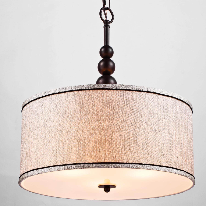 Vintage Fabric Drum Oil Rubbed Bronze Etamine Modern Pendant Lighting