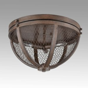 Vintage Wood Grain Metal Cage Flush Mount Ceiling Light With 3-Lights