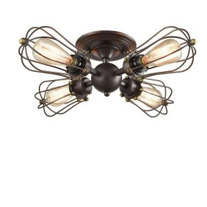 Wire Cage Vintage Semi-flush Mount Ceiling Light