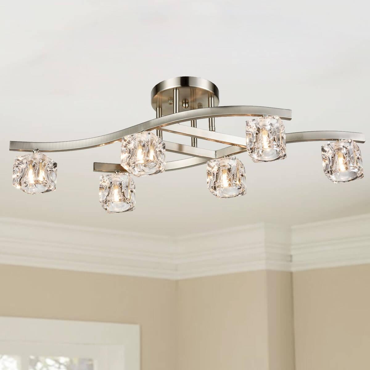 Modern Chrome Ceiling Light Fixture Glass Crystal Ice Cube 6-lights
