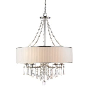 Modern Crystal Chandeliers Drum Fabric Shade Chrome Finish