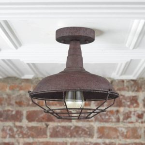 Farmhouse Metal Cage Rust Semi-Flush Ceiling Lights