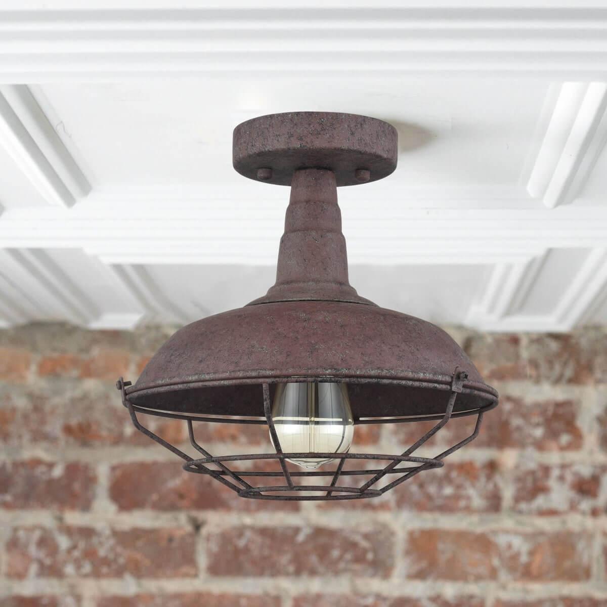 Farmhouse Metal Cage Rust Semi-Flush Ceiling Lights