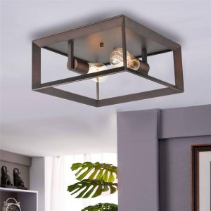 Metal Square Cage Flush Mount Ceiling Lights