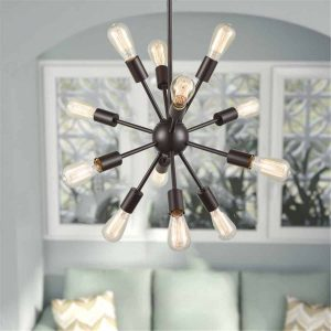 Modern Bronze 12-Light Sputnik Chandelier