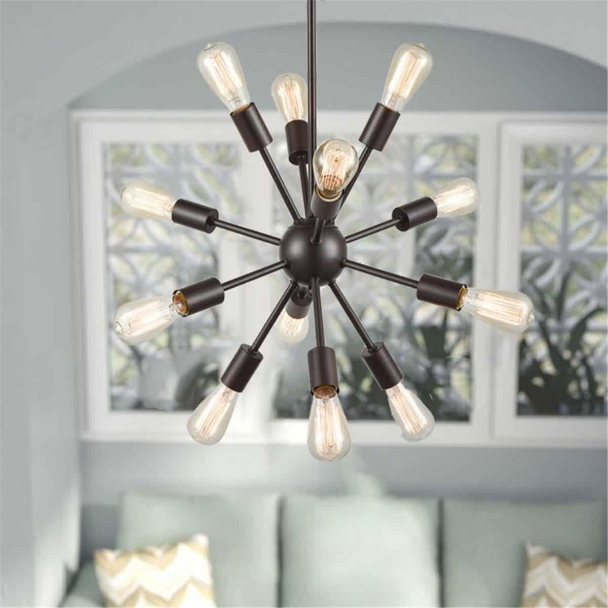 Modern 12-Light Sputnik Chandelier Rod-Hung, Bronze