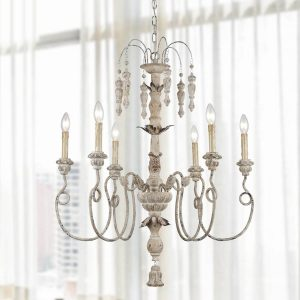 6 Light Farmhouse Chandelier White Washed Wooden Pendants Lighting