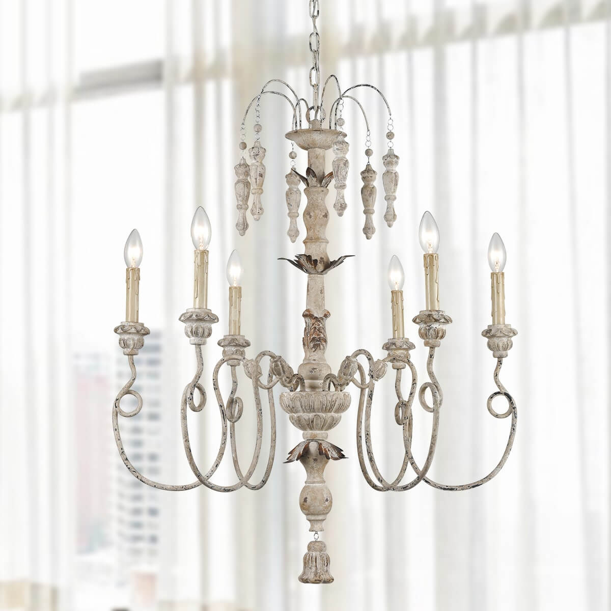 6 Light Farmhouse Chandelier White Washed Wooden Pendants Lighting