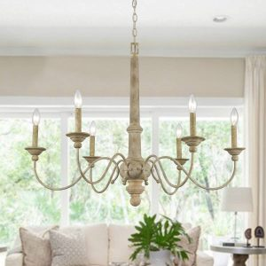 6 Lights Rustic Distressed Oak Wooden Candle Chandelier
