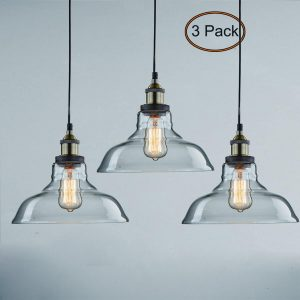 Classic Industrial Glass Bronze Pendant Lighting 3 Pack