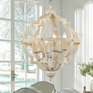 Distressed Off-white Wooden Candle Chandeliers 6 Lights