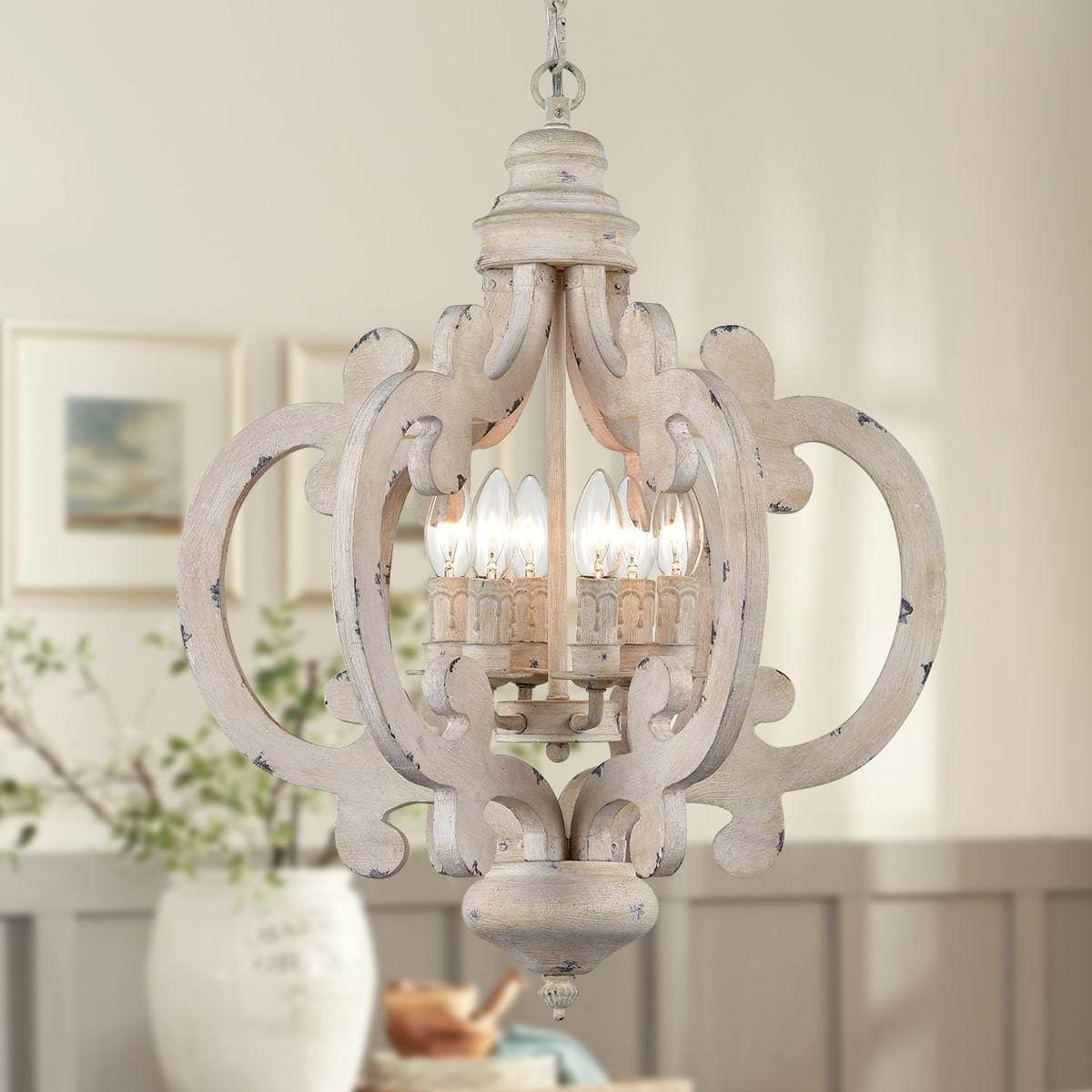 Distressed Wood Pendant Chandelier 6-Light Dining Fixture