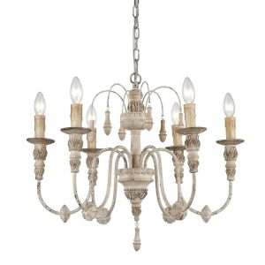 Distressing Wood Chandelier 6 Light French Country Candle Light