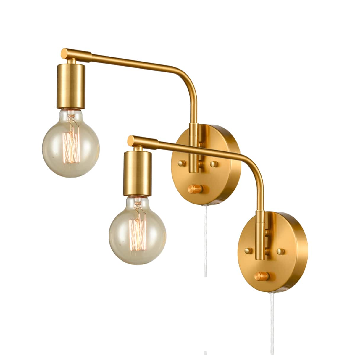 Edison Antique Brass Plug In Wall Sconces Set Of Two