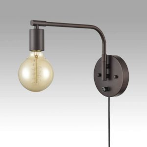 Oil Rubbed Bronze Swing Arm Wall Sconces Set of Two Plug in